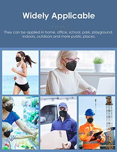 KN95 Face Mask 60 Pack, Included on FDA EUA List, 5-Ply Breathable & Comfortable Filter Safety Mask, Filter Efficiency≥95%, Protective Cup Dust Masks Against PM2.5 - Individually Wrapped (Black Mask)