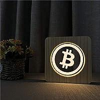 LED-lamp van hout in Bitcoin logo design - perfect cadeau voor Krypto fans (BTC)