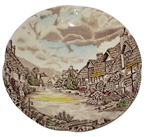Vintage Olde English Country Side Johnson Brothers Ironstone 5 1/2 Inch Saucers, Set of 4 (Countryside Saucer English)