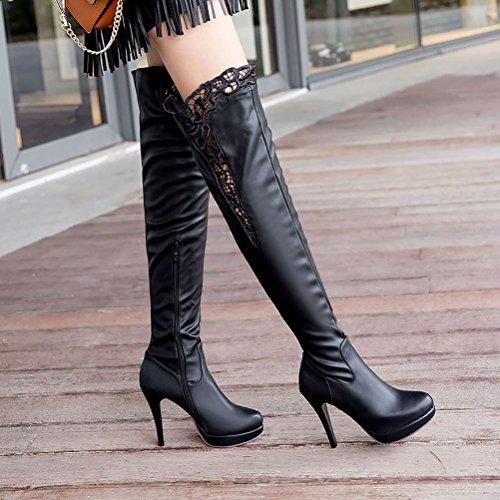 Agodor Talons Hauts De Plate-forme Des Femmes Dentelle Sur Les Cuissardes Avec Zip Fermé Orteils Cuisse Hiver Hautes Chaussures Noir