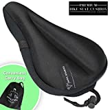 Temple Tape Elite Gel Bike Seat Cushion - Extra Soft Bicycle Saddle Cover for Spin, Exercise Stationary Bikes and Outdoor Biking - Premium Accessories for Comfort While Cycling