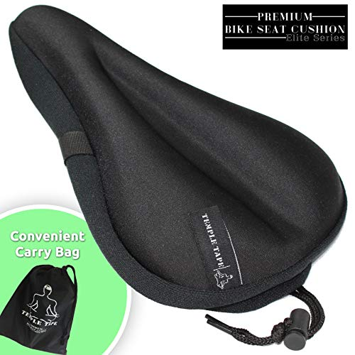 Temple Tape Ultra Gel Bike Seat Cushion - Extra Soft Bicycle Saddle Cover for Spin, Exercise Stationary Bikes and Outdoor Biking - Premium Accessories for Comfort While Cycling