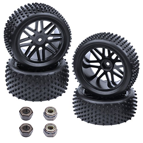 (Hobbypark (4-Pack) 1/10 Scale Off Road Buggy Tires & Wheel Rims Set Front and Rear 12mm Hex Hubs with Foam Inserts for RC Hobby Car)