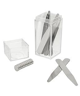 Palo X 21 pezzi/set 10 x Stainless Steel metallo colletto Stays (4 misure) + 10 x magneti + 1 x scatola