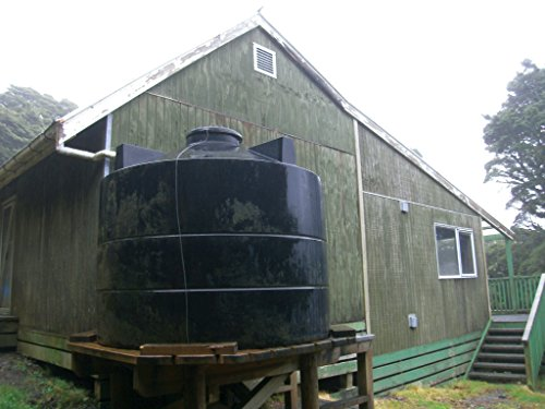 - Home Comforts Alpha Hut, Tararua Range, and water tank.