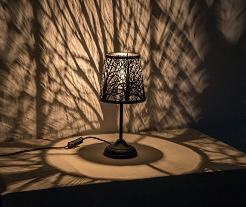 """15"""" Hollowed-out Metal Plateau Lamp Desk Lamp Bed Lights With Lamp Shade (Forest)"""
