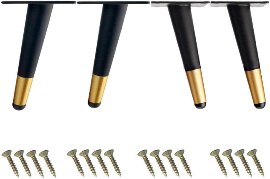 7.8'' Oblique Furniture Legs, Roiroiko Heavy Duty Cabinet Cupboard Chair Table Metal Feet with Mounting Screws,Perfect for TV/Sofa/Bench/Kitchen/Bed Feet Replacement,Set of 4 (BlackGold)
