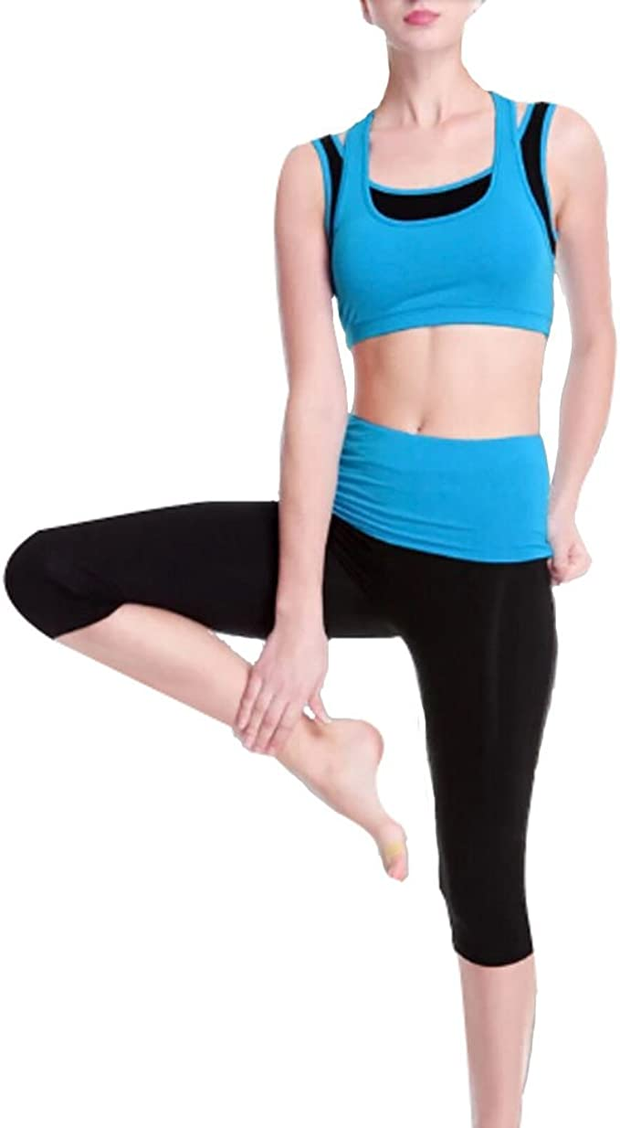 Amazon Com Panda Superstore Women S No Bounce Shock Running Yoga Clothes Sports Apparel Blue 36c Clothing