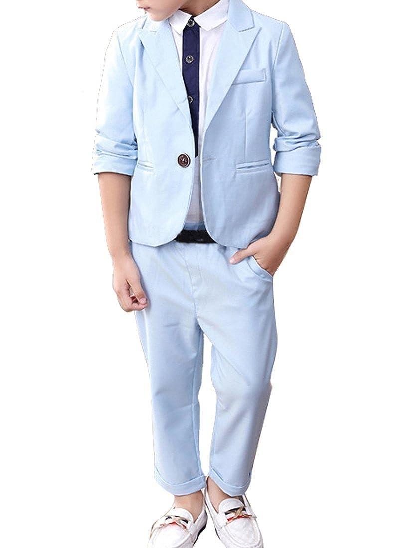 Boys Peak Lapel Light Blue Suit Set 2 Pieces Blazer and Pants Set