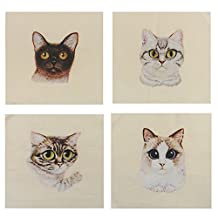 MagiDeal 4 Pieces 15x15cm Hand Dyed Cotton Linen Fabric Cute Cat Pattern Sewing DIY Patchwork Scrapbooking Bags DIY Quilting Crafts