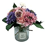 Missblue Artificial Rose Flowers with Vase,FakeSilk Pink Bouquet with Glass Jar Home Rope for Wedding Proposal Bride Home Decoration and The Best Gift (Purple)