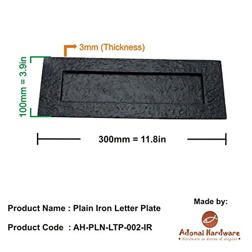 Adonai Hardware Plain Iron Letter Plate (Black Powdercoated)
