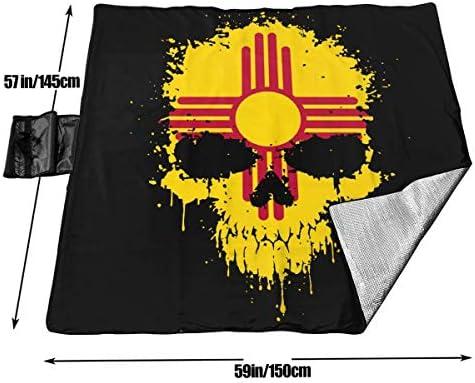 GuyIvan New Mexico Skull Flag Coperta da Picnic Tappetino da Picnic Coperta da Picnic Tote Handy Camping Beach Escursionismo Mat 145X150cm