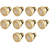uxcell Brass Misting Nozzle - 10/24 UNC 0.3mm Orifice Dia Replacement Heads for Outdoor Cooling System - 10 Pcs