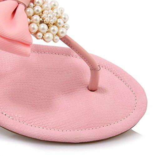 AllhqFashion Womens Split Toe Low Heels Buckle Solid Sandals Pink ySnJH2