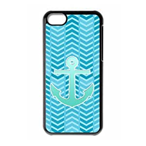 S-ADFG Print Blue Chevron Anchor Pattern PC Hard Case for iPhone 5C