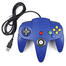 USB Controller for Classic Nintendo 64, USB N64 Controller Console System controller Game Gaming Gamepad for Windows PC MAC Linux Android Raspberry Pi (Blue)