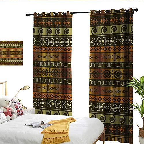 WinfreyDecor Zambia Sliding Curtains Ethnic Ornamental Abstract Heritage Traditional Ceremony Ritual Image for Living, Dining, Bedroom (Pair) W108 x L84