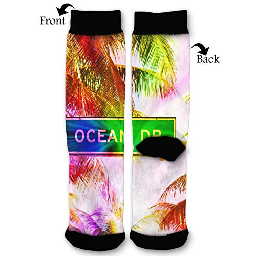 South Miami Beach Florida USA Men & Women Casual Cool Cute Crazy Funny Athletic Sport Colorful Fancy Novelty Graphic Crew Tube Socks ()