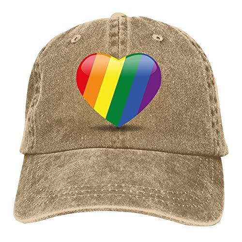 Heiazha Hipster Printed Cowboy Cap,Pride Heart Vector Format Pride Month LGBTQ Denim Hat Snapback Cap for Adult Mens Womens
