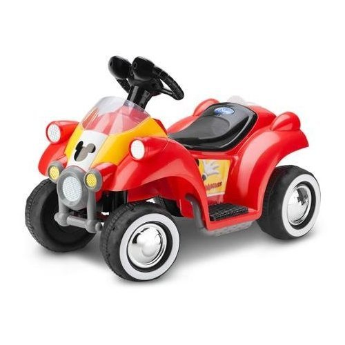 Disney Mickey Mouse Hot Rod Quad 6V Rechargeable Battery-Powered Ride-On ,speed of 1.5 mph
