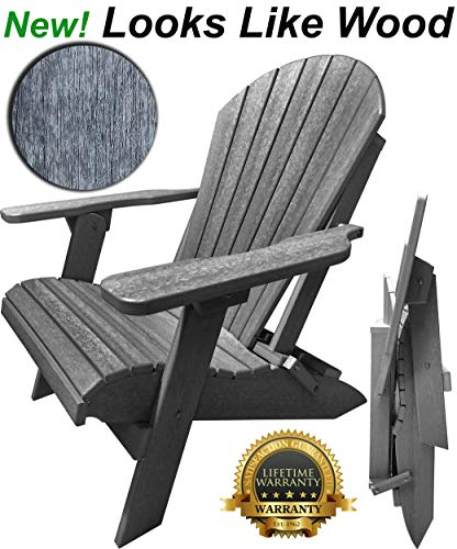 DuraWeather Poly Classic Folding Adirondack Chair - New Wood Grain Looks Exactly Like Real Wood - Made in USA - King Size (Driftwood Grey)