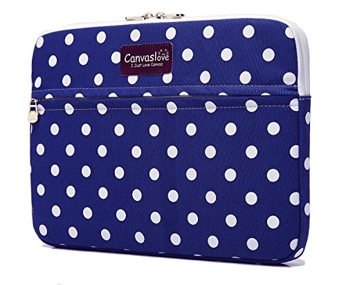 Canvaslove Blue Dot Pattern 13 inch Canvas laptop sleeve with pocket 13 inch 13.3 inch laptop case macbook air 13 case macbook pro 13 sleeve Laptop Sleeve Dot