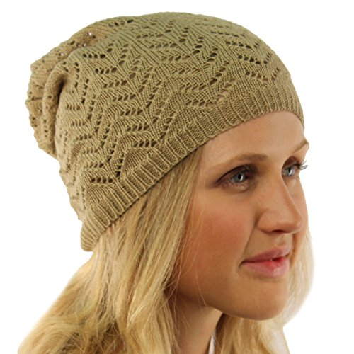 Ladies Chevron Vented Soft Knit Long Beanie Slouchy Slouch Skull Hat Cap Beige ()