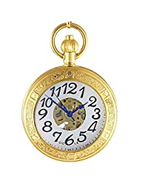 OGLE Waterproof Gold Magnifier Large Digital Pendant Necklace Chain Fob Self Winding Automatic Skeleton Mechanical Pocket Watch