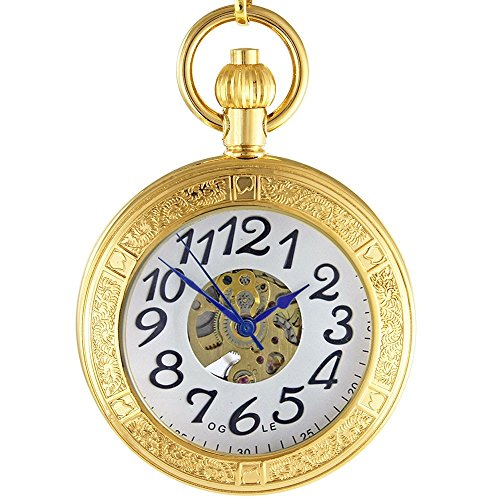 OGLE Waterproof Gold Magnifier Large Digital Chain Fob Self Winding Automatic Skeleton Mechanical Pocket Watch