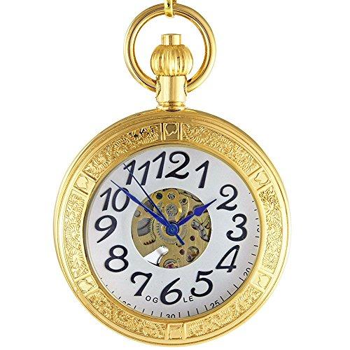 OGLE Waterproof Gold Magnifier Large Digital Chain Fob Self Winding Automatic Skeleton Mechanical Pocket Watch