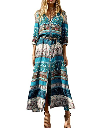 Long Size Summer Dress Floral Dresses Boho Maxi Beach AELSON Split Button Plus Green up Women's zAqOz1