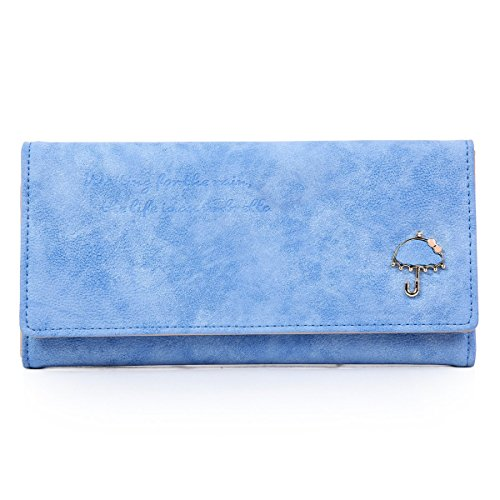 Damara Womens Frosted Leather Wallet Multi-slots Trifold Clutch Purse,Light Blue