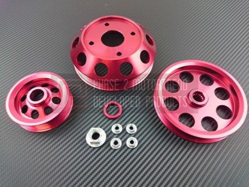 (P2M Nissan S13 SR20DET 3pcs Lightweight Engine Pulley Kit Red)