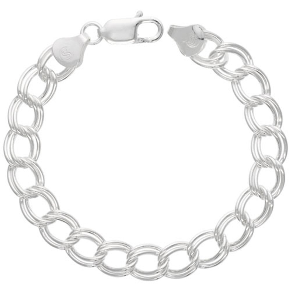 Sterling Silver Double Link Charm Bracelet 9 mm Large Nickel Free Italy, 3/8 wide 7 inch