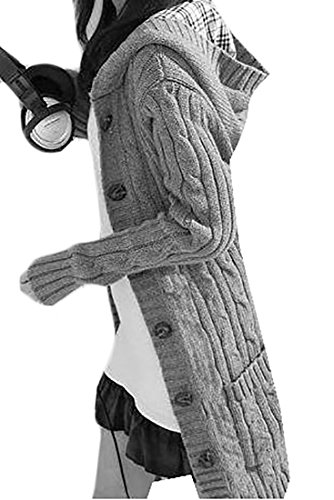 Belted Cotton Sweater - Fulok Women's Hooded Knit Sweater Belted Open Front Cardigan Sweaters Grey One Size