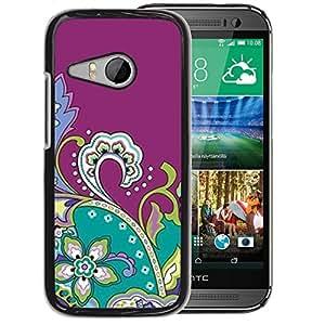 Planetar® ( Drawing Purple Fractal Flowers ) HTC ONE MINI 2 / M8 MINI Fundas Cover Cubre Hard Case Cover