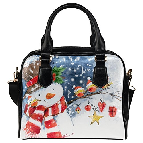 Watercolor Snowman - CASECOCO Watercolor Snowman Cute Bird Christmas PU Leather Purse Handbag Shoulder Bag