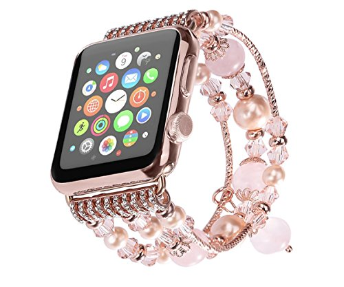 Apple Watch Band, KOMEI Fashion Sports Beaded Bracelet Strap Band For Apple Watch Series 2/1 / Watch Sport / iWatch Band for 38mm/42mm Apple Watch Mod…