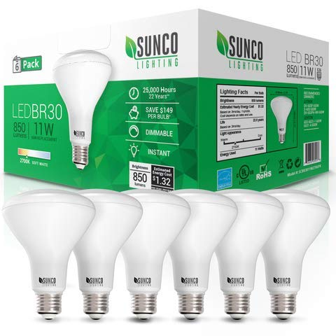 - Sunco Lighting 6 Pack BR30 LED Bulb 11W=65W, 2700K Soft White, 850 LM, E26 Base, Dimmable, Indoor Flood Light for Cans - UL & Energy Star