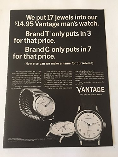 1965 Vantage 17 Jewels Watch Magazine Print Advertisement