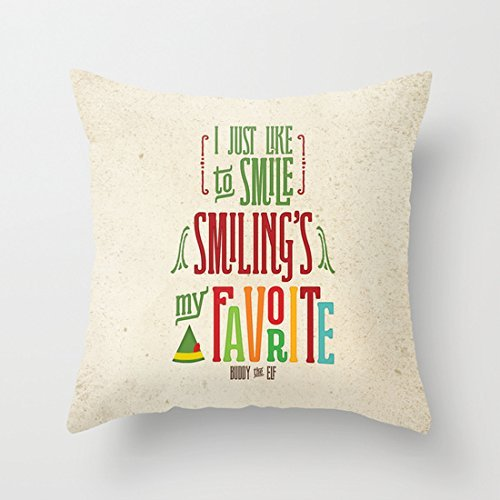 Lmunxuy 18' x 18' Buddy The Elf Smilings My Favorite Decorative Throw Pillow Case Cushion Cover