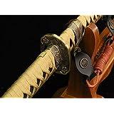 "Samurai sword/Katana/High carbon steel/Black matte paint sheath/Alloy tosogu/Full tang/Length 39"""
