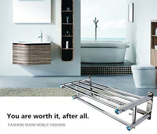 (23-Inch) FUNJIA Stainless Steel Bath Towel Rack/holder, Bathroom Shower Towel Bar, Shelves Space Saving Organizer, Modern Style and Special Blue Decoration, Polished Finish by FUNJIA (Image #1)