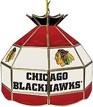 Trademark Gameroom NHL 16 Inch Handmade Tiffany Style Lamp-Chicago Blackhawks