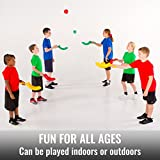 Cosom Hi-Li (Jai Alai) Game for Children, Scoop and Ball Toss Set, Outdoor Sports Gifts for Kids, Plastic Lacrosse Activities, Improve Hand Eye Coordination, Gift Set of (12) Scoops and (6) Balls