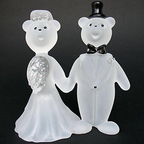 Teddy Bear Bride and Groom Wedding Cake Topper Figurine of Hand Blown Glass -