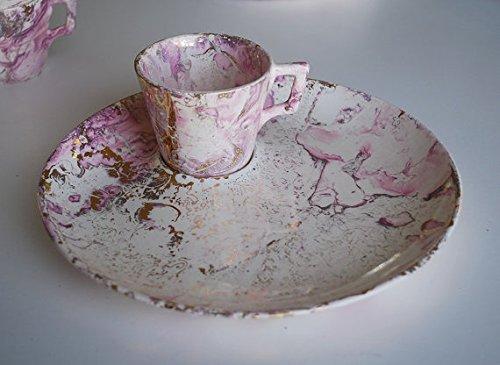 Sascha Brastoff Surf Ballet Pink & Gold Dinner Plate & Cup Set