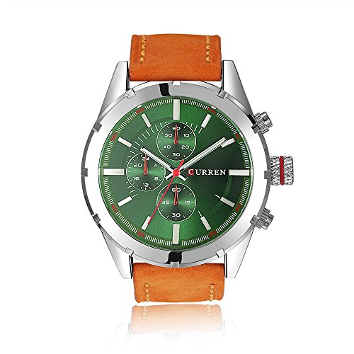 - Tidoo Watches Mens Luxury Business Wrist Watch Japaneses Quartz Movement Staintless Steel Silver Tone Case Green Analog Dial Orange Leather Band
