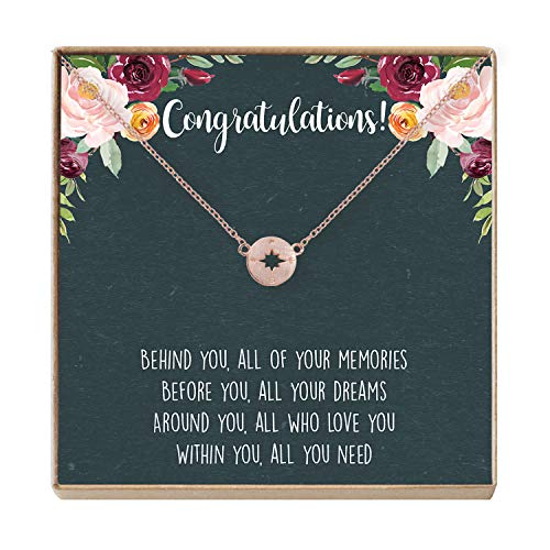 Graduation Necklace - Heartfelt Card & Jewelry Gift for High School/College, etc (Compass Rose Gold)